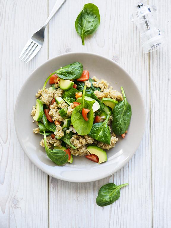 Receta El Huertico Ensalada de espinaca y quinoa